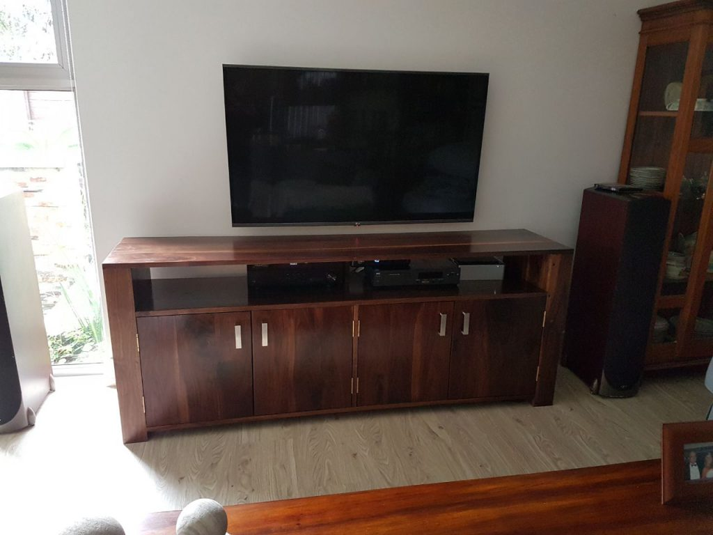 custom built wooden TV cabinet