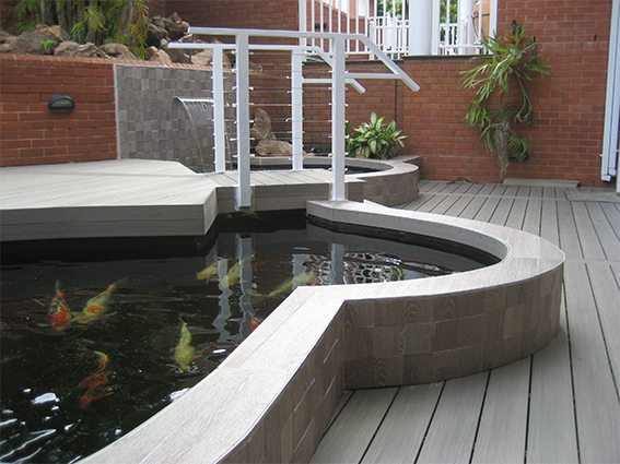 Composite decks around Koi Pond