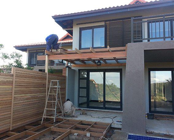 Timber Pergolas under construction
