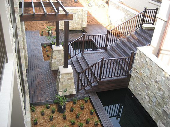 Large timber staircase with balustrade