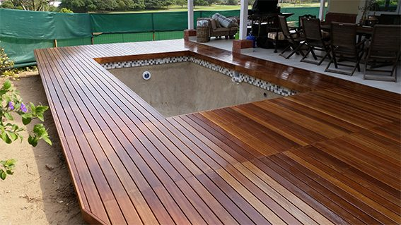 Varnished pool deck